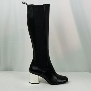Gucci Black Leather Block Heels Knee High Boots 39